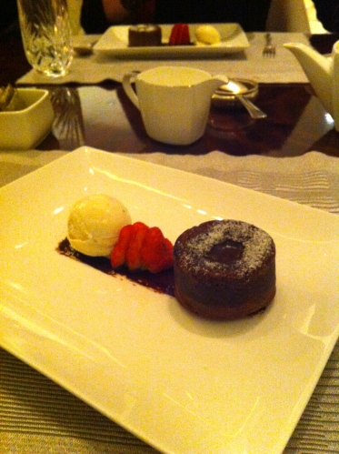 Third Course- Warm Chocolate Cake and Strawberries and Vanilla Bean Icecream